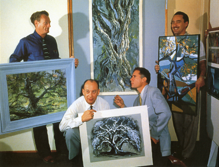 Disney artists in 1958 and their interpretations of the same tree. (From L to R) Josh Meador, Marc Davis, Eyvind Earle, and Walt Peregoy