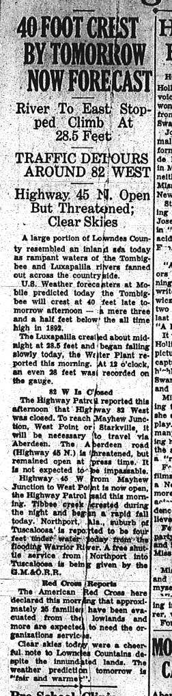 Article about flood from the Commercial Dispatch March 30, 1951.