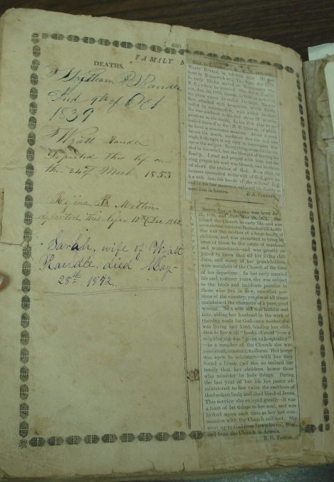 List of Randle family deaths written inside the family Bible.